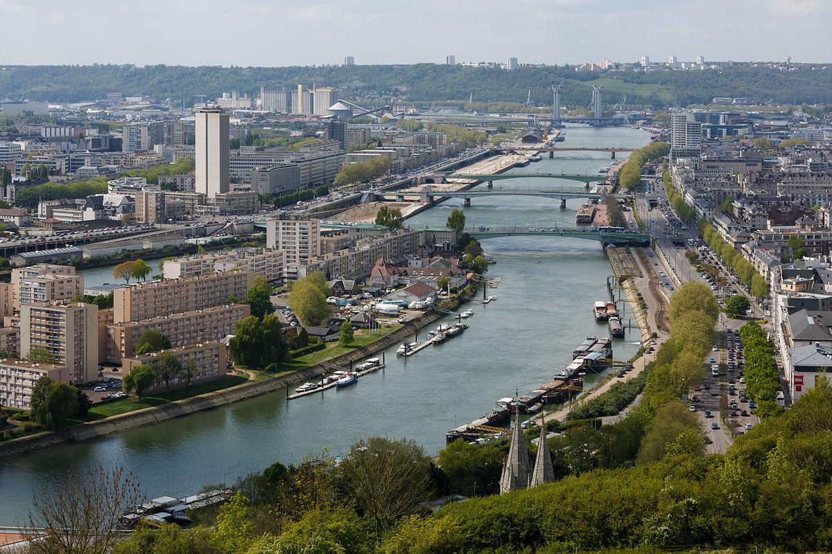 A river running through a city